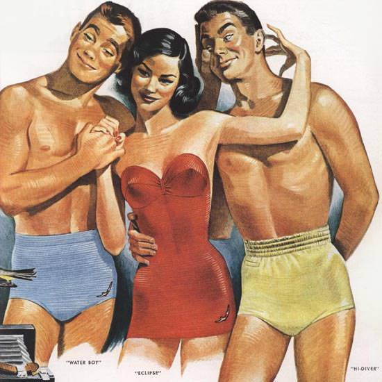 Detail Of Jantzen Swim Suits Girl Two Men | Best of Vintage Ad Art 1891-1970
