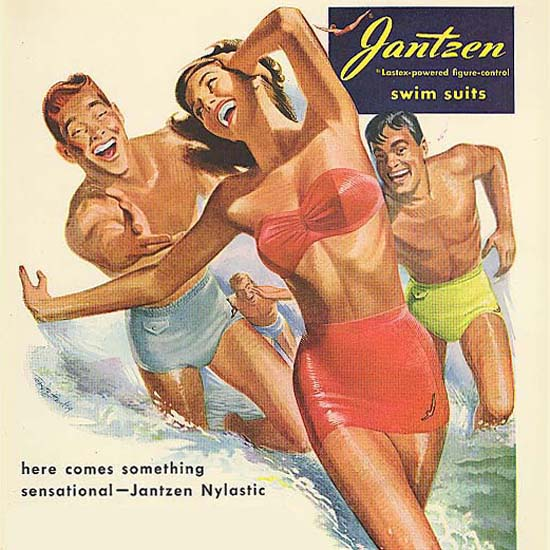 Detail Of Jantzen Swim Suits Something Sensational | Best of Vintage Ad Art 1891-1970