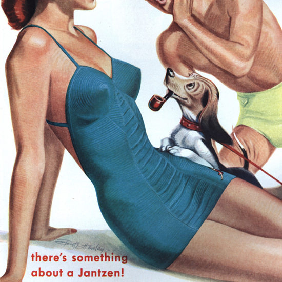 Detail Of Jantzen Swim Suits Theres Something Portland B | Best of Vintage Ad Art 1891-1970