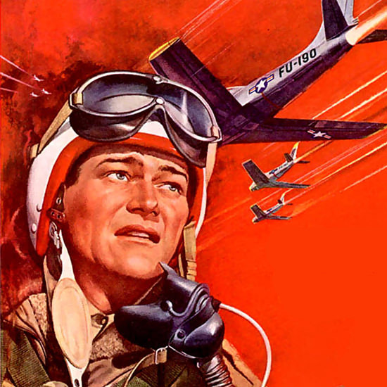 Detail Of Jet Pilot John Wayne Janet Leigh US Air Force 1957 B | Best of Vintage Ad Art 1891-1970