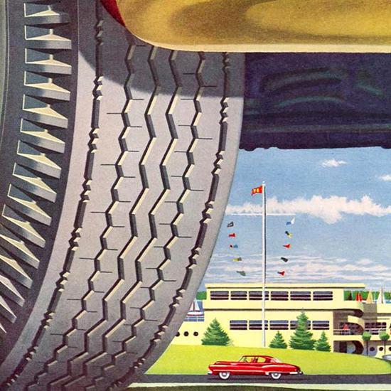 Detail Of Kelly Springfield Tires 1951 Harbor | Best of Vintage Ad Art 1891-1970