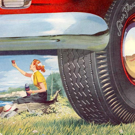 Detail Of Kelly Springfield Tires 1951 In The Mountains | Best of Vintage Ad Art 1891-1970