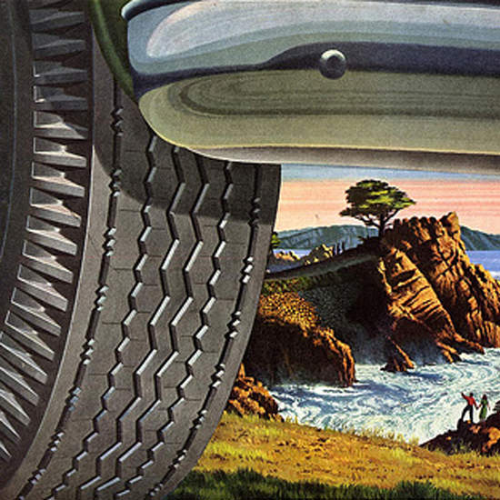 Detail Of Kelly Springfield Tires 1952 By The Sea | Best of Vintage Ad Art 1891-1970
