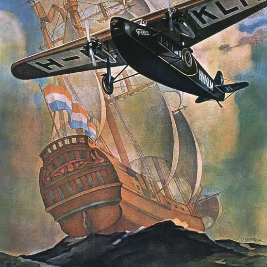 Detail Of Koninklijke Luchtvaart Maatschappij Netherlands | Best of Vintage Ad Art 1891-1970