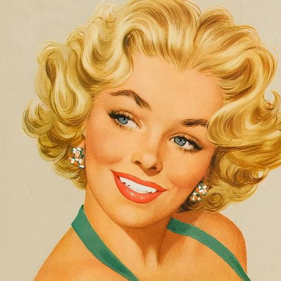 Detail Of Kool Blonde Girl Cigarettes Mild Menthol 1950s B | Best of Vintage Ad Art 1891-1970