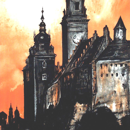Detail Of Krakow Poland 1930s Stefan Norblin | Best of Vintage Ad Art 1891-1970