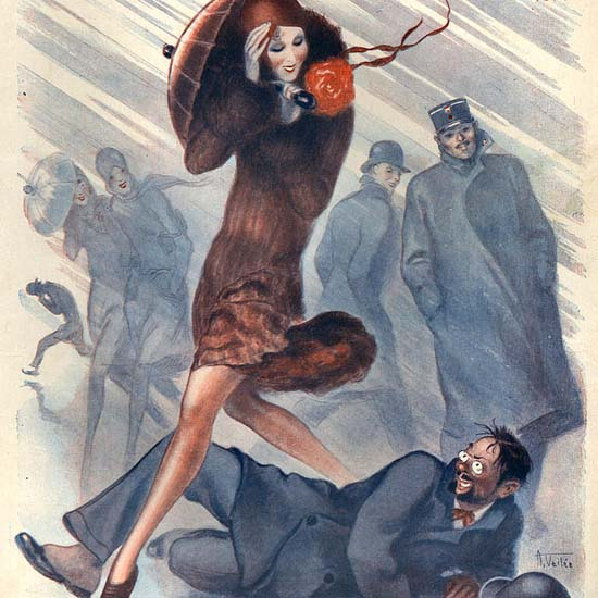 Detail Of La Vie Parisienne 1929 Storm Un Heureux Mortel | Best of Vintage Ad Art 1891-1970