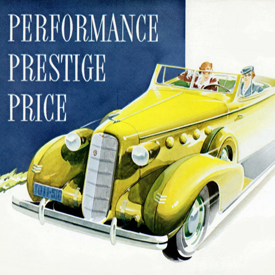 Detail Of LaSalle Convertible 1935 New Extra Value | Best of Vintage Ad Art 1891-1970