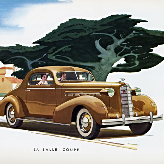 Detail Of LaSalle Coupe 1936 | Best of Vintage Ad Art 1891-1970