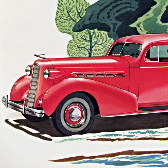 Detail Of LaSalle Two Door Touring Sedan 1936 | Best of 1930s Ad and Cover Art