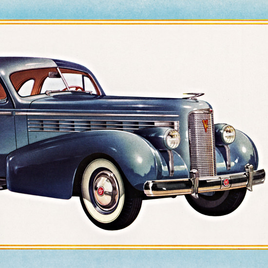 Detail Of LaSalle Two Passenger Coupe 1938 Blue | Best of Vintage Ad Art 1891-1970