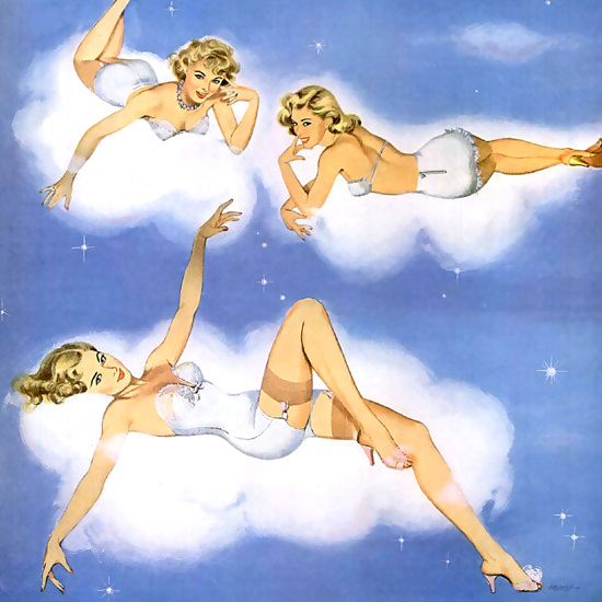 Detail Of Lastex Lingerie Pin Up Angels 1951 | Best of Vintage Ad Art 1891-1970