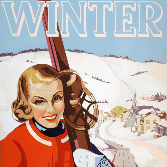 Detail Of Laurentian Mountains Winter Montreal 1955 | Best of Vintage Ad Art 1891-1970