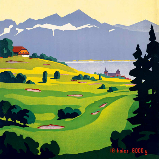 Detail Of Lausanne Golf Suisse Switzerland Schweiz 1930s | Best of Vintage Ad Art 1891-1970