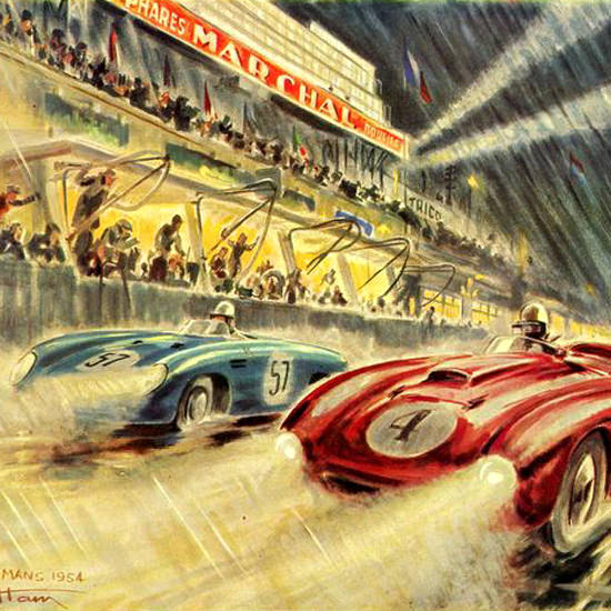 Detail Of Le Mans 24 Heures Marchal 1954 | Best of Vintage Ad Art 1891-1970