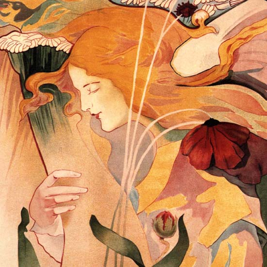 Detail Of Le Sillon Belgium 1895 Art Nouveau Jugendstil | Best of Vintage Ad Art 1891-1970