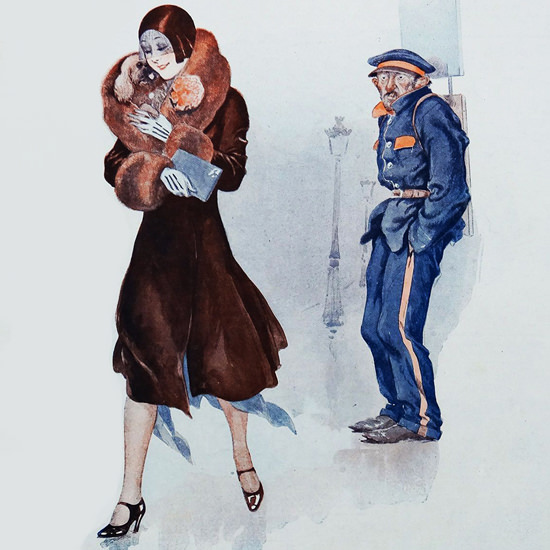 Detail Of Le Sourire 1930 Veinard Georges Leonnec | Best of Vintage Ad Art 1891-1970
