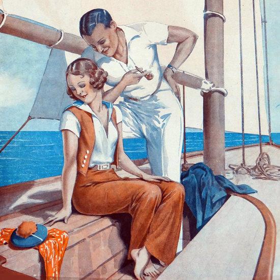 Detail Of Le Sourire 1932 La Marine Georges Leonnec | Best of Vintage Ad Art 1891-1970