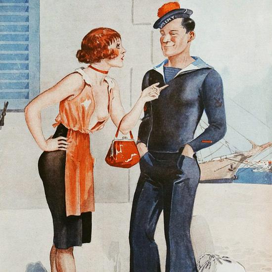 Detail Of Le Sourire 1932 Le Plancher Georges Leonnec | Best of Vintage Ad Art 1891-1970