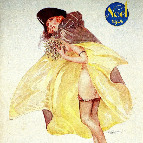 Detail Of Le Sourire Magazine 1924 Noel Christmas Girl | Best of Vintage Ad Art 1891-1970