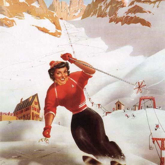 Detail Of Limone Piemonte Skiing Italy Italia | Best of Vintage Ad Art 1891-1970