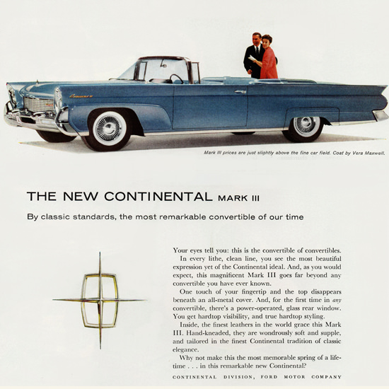 Detail Of Lincoln Continental Mark III Convertible 1958 | Best of Vintage Ad Art 1891-1970