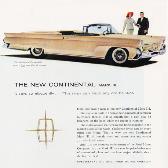 Detail Of Lincoln Continental Mark III Convertible Landau 1958 | Best of Vintage Ad Art 1891-1970