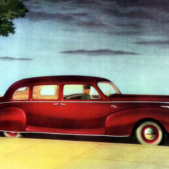 Detail Of Lincoln Custom Limousine 1941 Red | Best of Vintage Ad Art 1891-1970