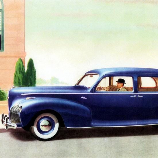 Detail Of Lincoln Custom Sedan 1941 Blue | Best of Vintage Ad Art 1891-1970