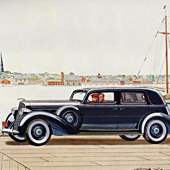 Detail Of Lincoln Five P Sedan 1936 At Gloucester | Best of Vintage Ad Art 1891-1970