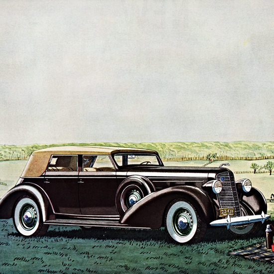 Detail Of Lincoln LeBaron Convertible 1936 Maryland Hunt | Best of Vintage Ad Art 1891-1970