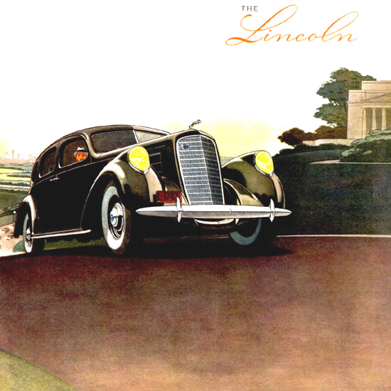 Detail Of Lincoln Model K Sedan 1937 | Best of Vintage Ad Art 1891-1970