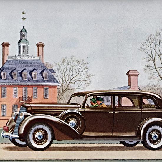 Detail Of Lincoln Sedan 1936 At Williamsburg Virginia | Best of Vintage Ad Art 1891-1970