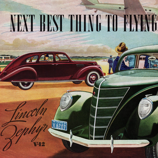 Detail Of Lincoln Zephyr 1937 Next Best Thing To Flying | Best of Vintage Ad Art 1891-1970