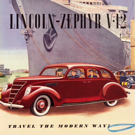 Detail Of Lincoln Zephyr 1937 Travel The Modern Way | Best of Vintage Ad Art 1891-1970