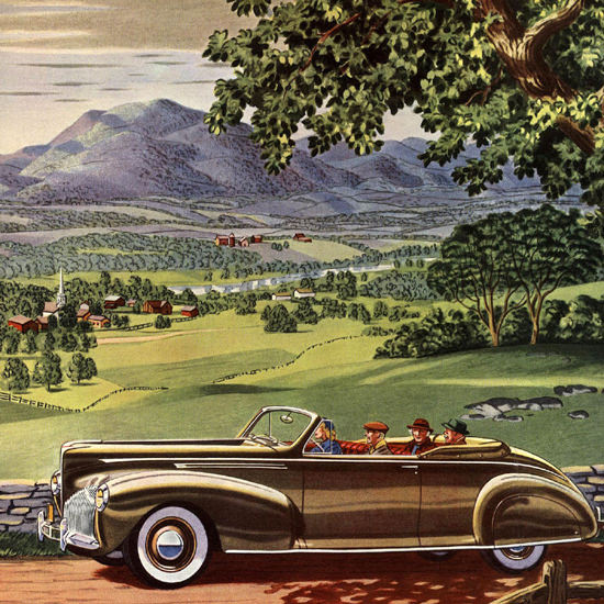 Detail Of Lincoln Zephyr V-12 Wanders New England 1940 | Best of Vintage Ad Art 1891-1970
