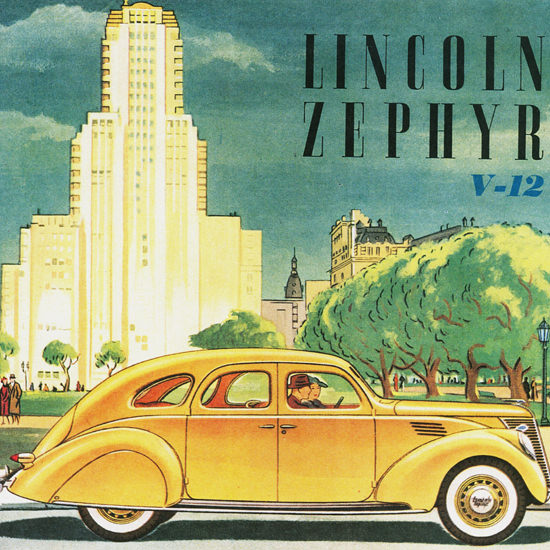 Detail Of Lincoln Zephyr V12 Argentina 1936 | Best of 1930s Ad and Cover Art