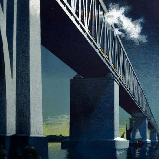 Detail Of Little Belt Bridge Link Between Great Britain 1951 | Best of Vintage Ad Art 1891-1970
