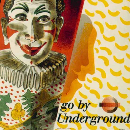 Detail Of London Underground Circus Clown | Best of Vintage Ad Art 1891-1970
