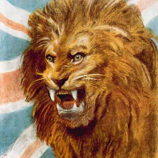 Detail Of London Underground Lion The Spirit Of 1943 | Best of 1940s Ad and Cover Art