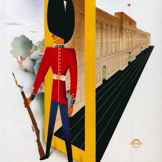 Detail Of London Underground Royal Palace Guard | Best of Vintage Ad Art 1891-1970