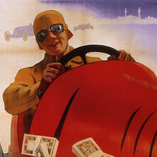 Detail Of Lotteria Di Tripoli Italy Italia Racing Car | Best of Vintage Ad Art 1891-1970
