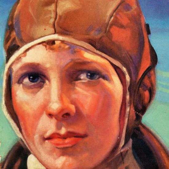 Detail Of Lucky Strike Amelia M Earhart Atlantic Pilot 1928 | Best of Vintage Ad Art 1891-1970