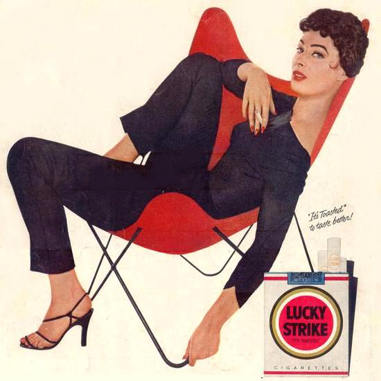 Detail Of Lucky Strike Rita Gam Is Going Steady 1955 | Best of Vintage Ad Art 1891-1970