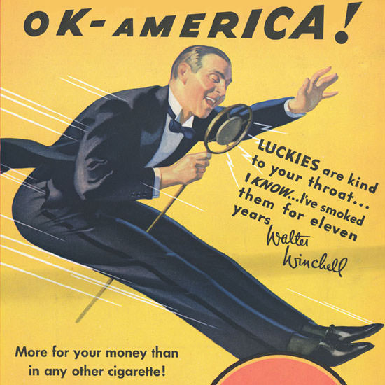 Detail Of Lucky Strike Walter Winchell OK America 1932 | Best of 1930s Ad and Cover Art