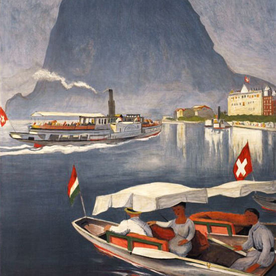Detail Of Lugano Suedschweizerisches Sonnenland 1924 | Best of Vintage Ad Art 1891-1970