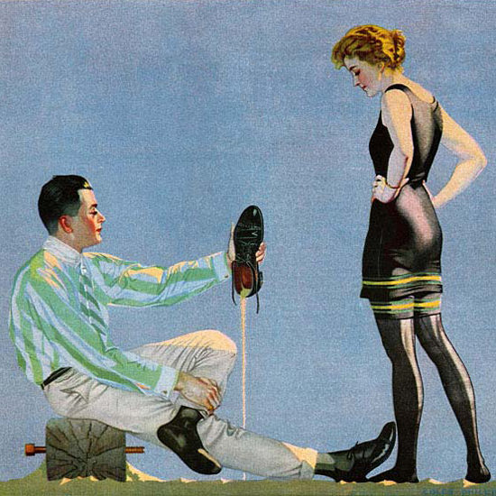 Detail Of Luxite Hose Spirit Of Luxery 1917 Coles Phillips | Best of Vintage Ad Art 1891-1970