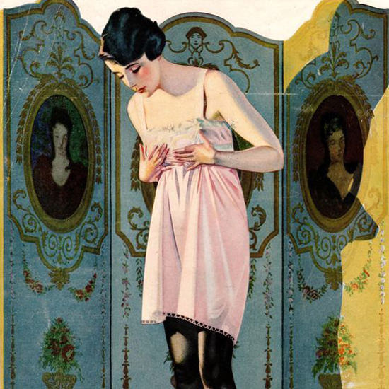 Detail Of Luxite Hosiery Folding Sreen Coles Phillips | Best of Vintage Ad Art 1891-1970