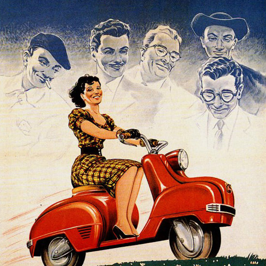 Detail Of Magnat Debon Notre Scooter 1952 Perambure | Best of Vintage Ad Art 1891-1970