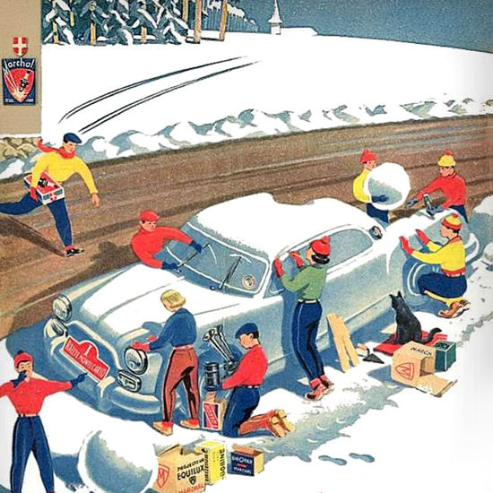 Detail Of Marchal 1954 Nous Gagnerons | Best of Vintage Ad Art 1891-1970